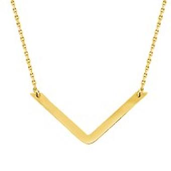 14k Yellow Gold Draw The Line V Necklace 18 Inch Jewelry Gifts for Women - 2.3 Grams