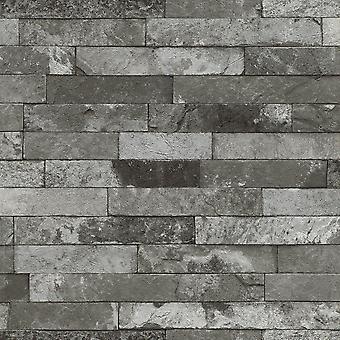 Fonds d'écran Slate Wall Effect Charcoal Rasch 933505