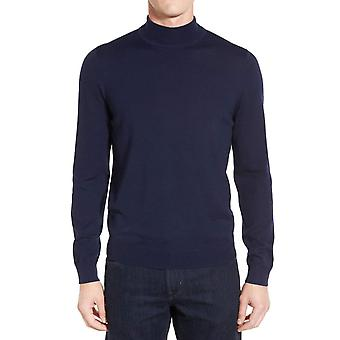 Fitted-cut walkneck wool sweater