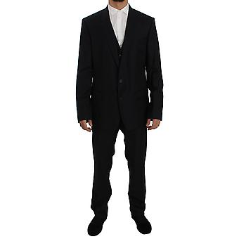 Dolce & Gabbana Blue Fantasy Wool Slim Fit 3 Piece Suit