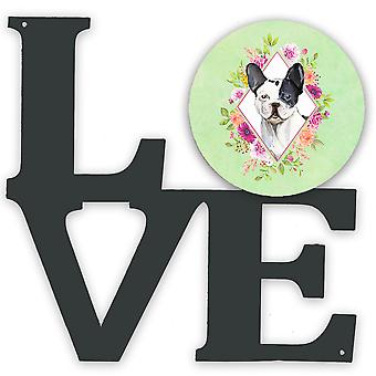 Black and White Frenchie Green Flowers Metal Wall Artwork LOVE