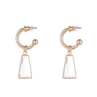 Sparkle Womens/Ladies Trapezoid Drop Hoop Earrings