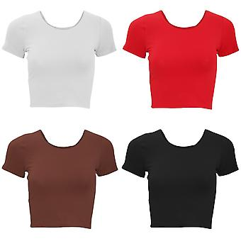 American Apparel Womens/Ladies Plain Cropped Short Sleeve T-Shirt