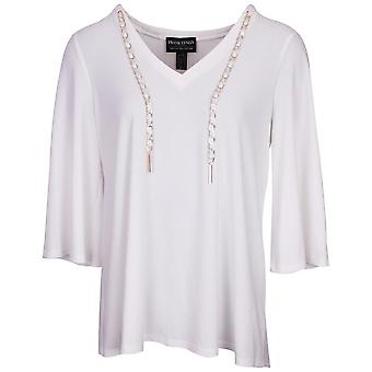 Frank Lyman White Lightweight Long Sleeve Top With Chain Detail