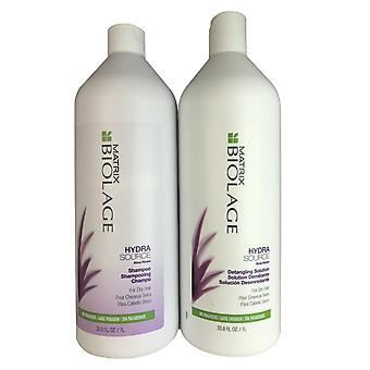 Matrix biolage hydrasource hair shampoo & detangling solution duo 1 liter each