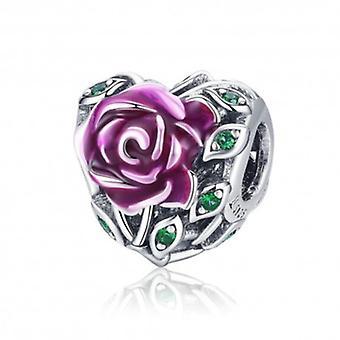 Sterling Silver Charm Enamel Rose Pink - 5958