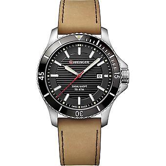Wenger Seaforce Quartz Black Dial Brown Leather Strap Mens Watch