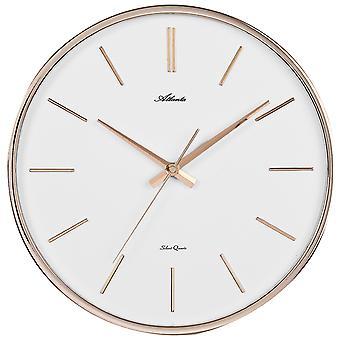 Atlanta 4456/18 Wall clock Quartz analog golden quiet without ticking