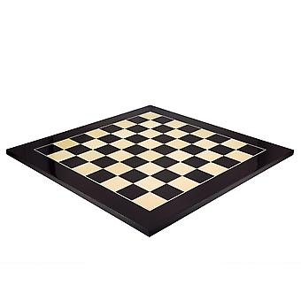 23.6 Inch Gloss Black Anegre and Maple Deluxe Chess Board
