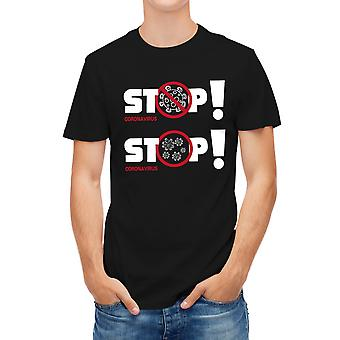 Allthemen Men's 3D imprimate Stop Coronavirus scurt T-Shirt Negru