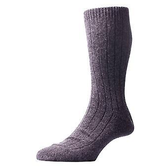 Pantherella Waddington Rib Luxury Cashmere Socks - Charcoal