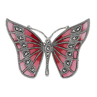 Orton West Butterfly Brooch - Pink/Silver