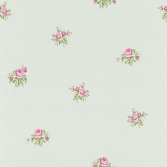 Lazy Sunday Rose Design Wallpaper Blue / Pink Rasch 401035