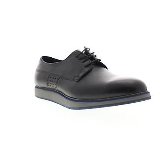Zanzara Grayson  Mens Black Leather Casual Lace Up Oxfords Shoes