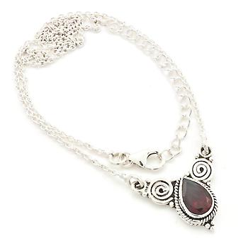 Garnet Necklace 925 Silver Sterling Silver Necklace Red (MCO 09-52)