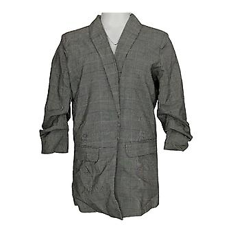 K Jordan Women's Suit Jacket/Blazer Plaid Gray / Black
