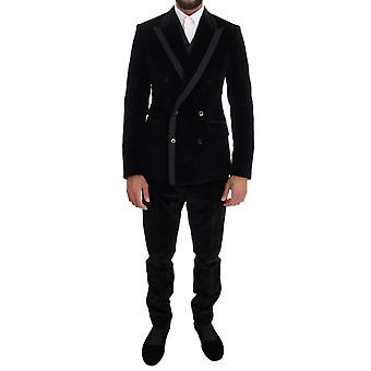 Dolce & Gabbana Black Velvet Slim Double Breasted Two Button Suit