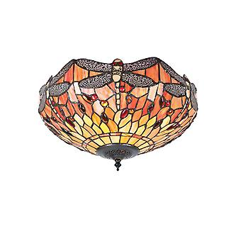 Dragonfly Flame Ceiling Light, Glass And Metal