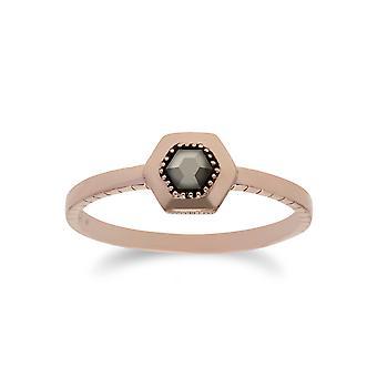 Rose vergoldet Marcasite Sechseck Design Ring in 925 Sterling Silber 224R029901925