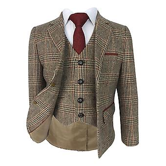 Beau KiD Boys Herringbone Tweed Brown & Burgundy Check Suit with Elbow Patches