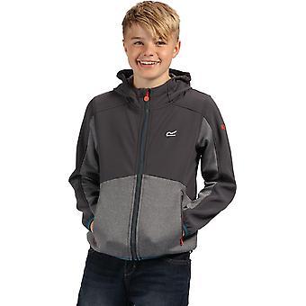 Regatta Kids' Bracknell Softshell Hooded Top Dark Grey