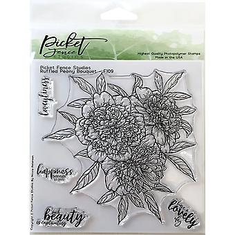 Picket Fence Studios Ruffled Pivoine Bouquet Clear Stamps