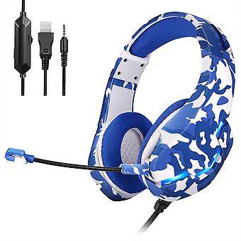 RGB LED gaming headphones 3.5 mm - Blue camouflage