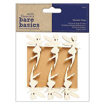 Papermania Bare Basics Holz Pegs Feen (6pcs) (PMA 174529)