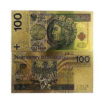 Reine Goldfolie Polen Souvenir Banknoten