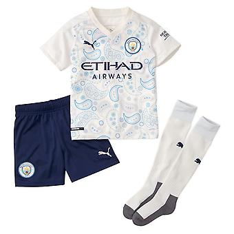 Puma Manchester City 2020/21 Junior Kids Mini Third Football Kit White/Navy Blue