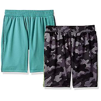 Spotted Zebra Little Boys' 2-Pack Active Mesh Shorts, Grey Camo/Teal, Small (...