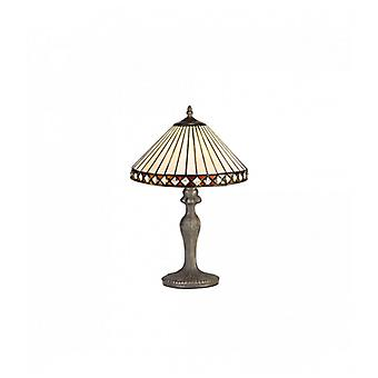 Carole 1 Light Curved Table Lamp E27 With 30cm Tiffany Shade, Amber/c/crystal/aged Antique Brass