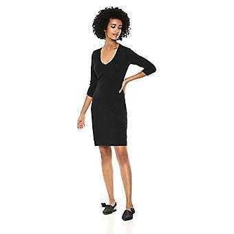 Brand - Daily Ritual Women's Jersey 3/4-Sleeve V-Neck T-Shirt Kjole, Sort, X-Small