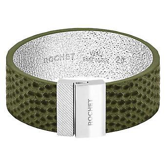 Pulsera Rochet FB1620208 - ACERO DIVA - Kaki Leather Link 20mm Cierre de Amor de Mujer