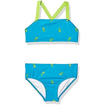 Essentials Girl's 2-Piece Bikini Set, Aqua Pineapples, XL