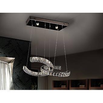 Led intégré Dimmable Crystal Ceiling Pendant Chrome