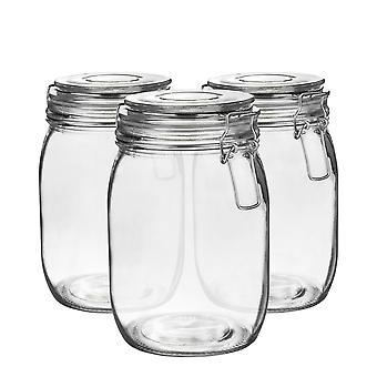 Argon Geschirr Glas Aufbewahrung Sandgläser mit luftdichten Clip Deckel - 1 Liter Set - klare Dichtung - Packung mit 6