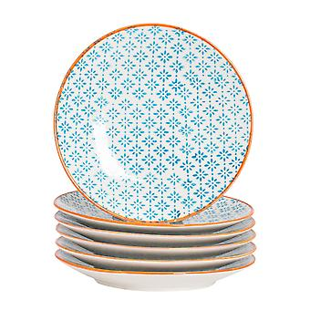 Nicola Spring 6 Piece Hand-Printed Side Plate Set - Japanese Style Porcelain Dessert Bread Plates - Blue - 18cm