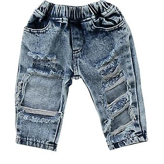 Child Denim Pants, Stretch Elastic Trousers, Ripped Hole Cloth