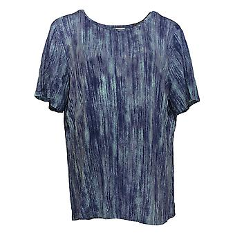 Lisa Rinna Collection Women's Top Printed Knit W/ Back Detail Blue A291099
