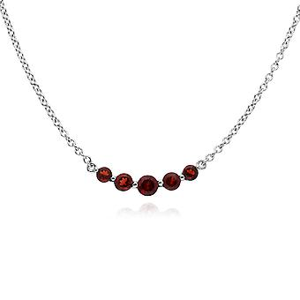 Classic Round Garnet 5 Stone Gradient Necklace in 925 Sterling Silver 270N034102925