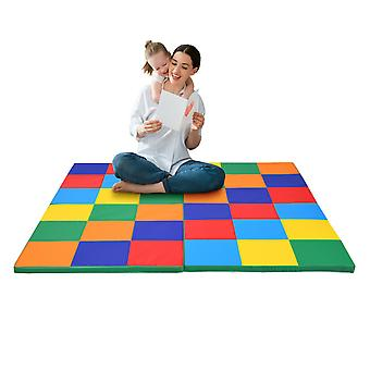 4-Section Colorful Soft Foam Kids Floor Mat Baby Crawling Game Mat Foldable