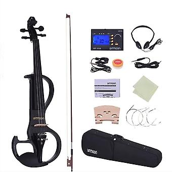 Full Size 4/4 Violon Fiddle Solid Wood Electric Silent Style-3 Ebony