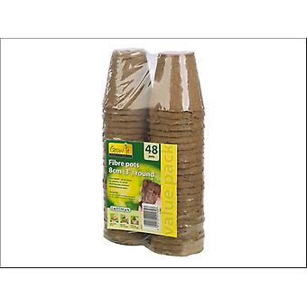 Gardman Round Fibre Pots 8cm x 48 - Value Pack 08320