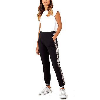 Yasmin Leopard Side Stripe Cuffed Jogger | Black
