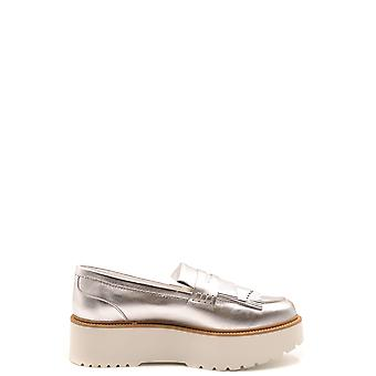 Hogan Ezbc030233 Women's Silver Leather Loafers