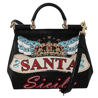 Black santa cross body crystal sicily leather satchel borse bag