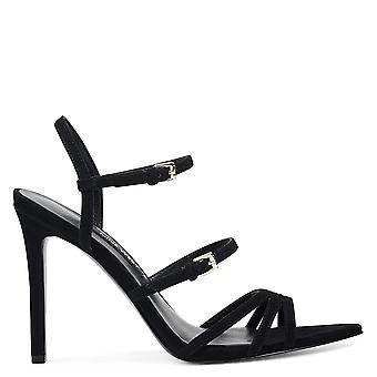 Yhdeksän West naisten Gilficco nahka avoin toe erityinen tilaisuus strappy sandaalit