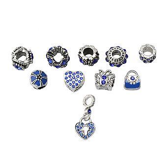 10 Pcs Legierung große Loch eingelegte Perle lose Perle für Schmuck Armband DIY