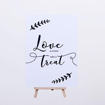 Blad krans ontwerp liefde is Sweet nemen een traktatie witte kaart en ezel bruiloft